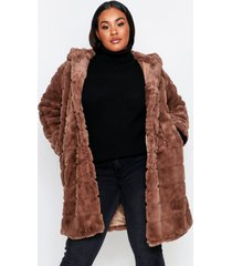 hooded faux fur pannel coat, brown