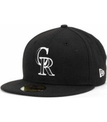 new era colorado rockies black and white fashion 59fifty cap