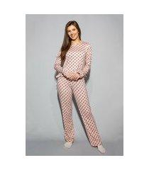 pijama hygge homewear malha modal rosa xadrez longo