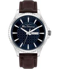 ben sherman men's dark brown genuine leather strap classic three hand watch, 43mm