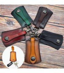 uomo vera pelle vintage outdoor casual cintura chiave borsa