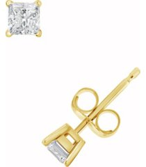 certified princess cut diamond stud earrings (1/2 ct. t.w.) in 14k white gold or yellow gold