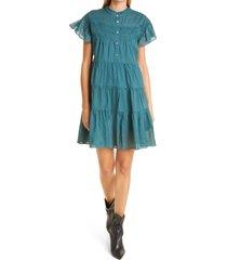 isabel marant etoile lanikaye sheer flounce sleeve cotton babydoll dress, size 12 us in dark blue/green at nordstrom