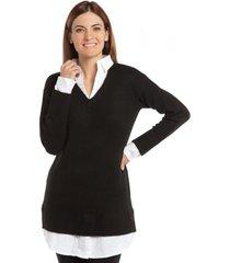 tejido maxi blusa negro bunnys