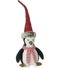 """northlight 10"""" small plush christmas penguin in striped scarf and santa hat"""