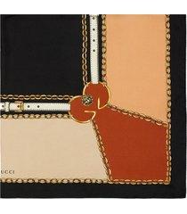 gucci graphic print scarf - black