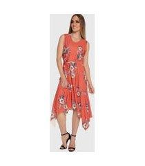 vestido mullet carbella fabi barra lençol e laço floral midi laranja
