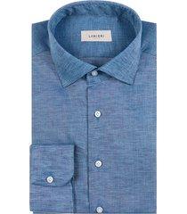 camicia da uomo su misura, albini, natural stretch lino blu, primavera estate | lanieri