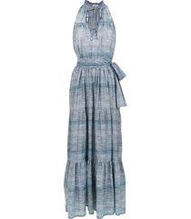 amir slama long denim dress - blue