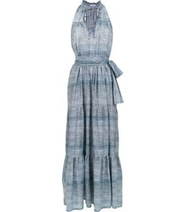 amir slama long denim dress - blue