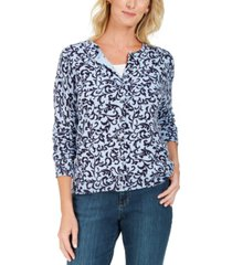 karen scott scroll-print cardigan, created for macy's