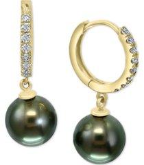 effy black cultured tahitian pearl (10mm) & diamond (3/8 ct. t.w.) dangle drop earrings in 14k gold