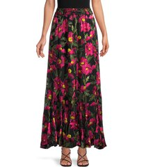alice + olivia by stacey bendet women's elza floral maxi skirt - calf puppy - size 2