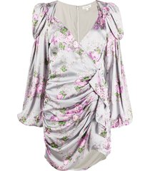 for love and lemons floral ruched mini dress - grey
