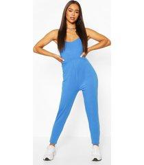 basic viscose strappy cami jumpsuit, cobalt