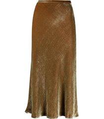 maison margiela four-stitch velvet skirt - brown