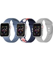 unisex floral, gray, atlantic blue 3-pack replacement band for apple watch, 42mm