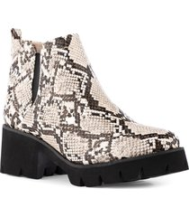 bc footwear fight for your right vegan leather bootie, size 11 in brown/natural python print at nordstrom