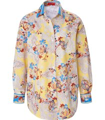 blouse 100% katoen ornamentdessin van laura biagiotti roma geel