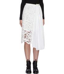 paisley lace panel pleated midi skirt
