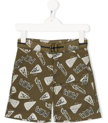 little marc jacobs all-over print cargo shorts - green