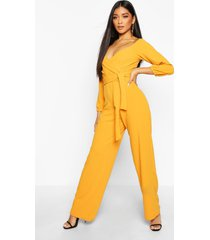off the shoulder wide leg jumpsuit, mustard