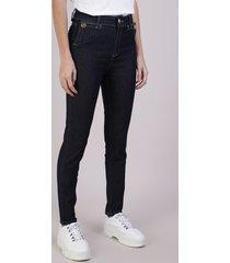 calça jeans feminina sawary cigarrete cintura alta azul escuro