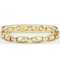 mk bracciale rigido mercer link in argento sterling placcato in metallo prezioso con aureola e pavé - oro (oro) - michael kors