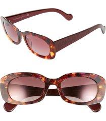 women's moncler 52mm oval sunglasses - coloured havana/ bordeaux
