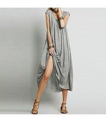 zanzea vestido largo sin manga sexy playa casual -gris