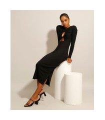 vestido canelado com fendas e vazado midi manga longa preto