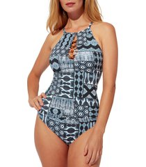 women's bleu by rod beattie island time tankini top, size 14 - blue