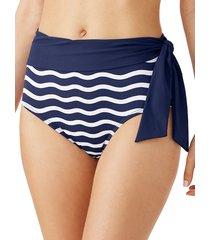 tommy bahama women's sea swell stripes high-waisted bikini bottoms - navy - size xl