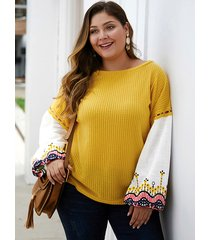 plus size yellow patchwork embroidered round neck sweater