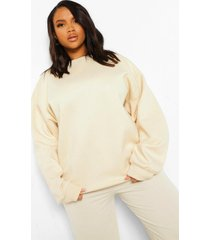 plus oversized fleeceback sweater, ecru