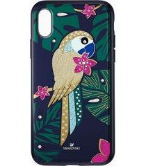 custodia per smartphone con bordi protettivi tropical parrot, iphoneâ® xs max, multicolore scuro