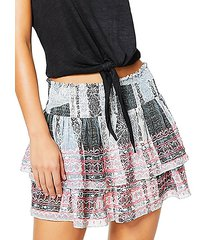 tribal-print shirred tiered skirt