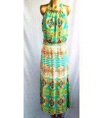 vestido estampado wow! verde/multicolor