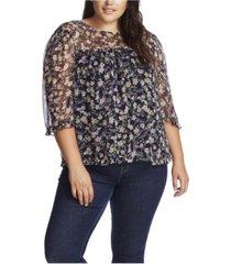 cece women's plus 3/4 sleeve botanic charm blouse