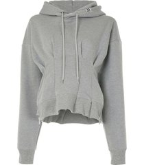 maison mihara yasuhiro waist track logo patch hoodie - grey