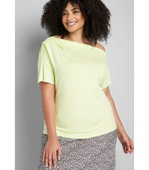 lane bryant women's perfect sleeve one-shoulder pleated-neck top 26/28 pale lime yellow