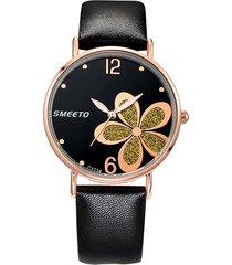 orologi di moda in pelle da donna orologi in oro rosa con numeri di fiori d'oro grandi numeri analogici