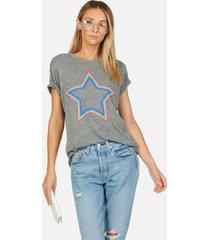 capri multi outline star - xl heather grey