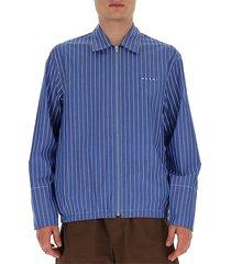 gestreept overhemd met lange mouwen en ritssluiting