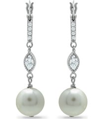 imitation pearl cubic zirconia art deco linear earrings crafted in fine silver plate