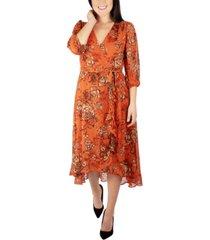 women's 3/4 sleeve surplice dress with sash