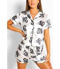 snake print satin pyjama short set, white