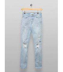 mens black light wash blowout skinny jeans
