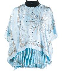 sacai pleated scarf drape blouse - blue