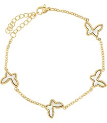 steeltime 18k micron gold plated stainless steel butterfly link bracelet with butterflies